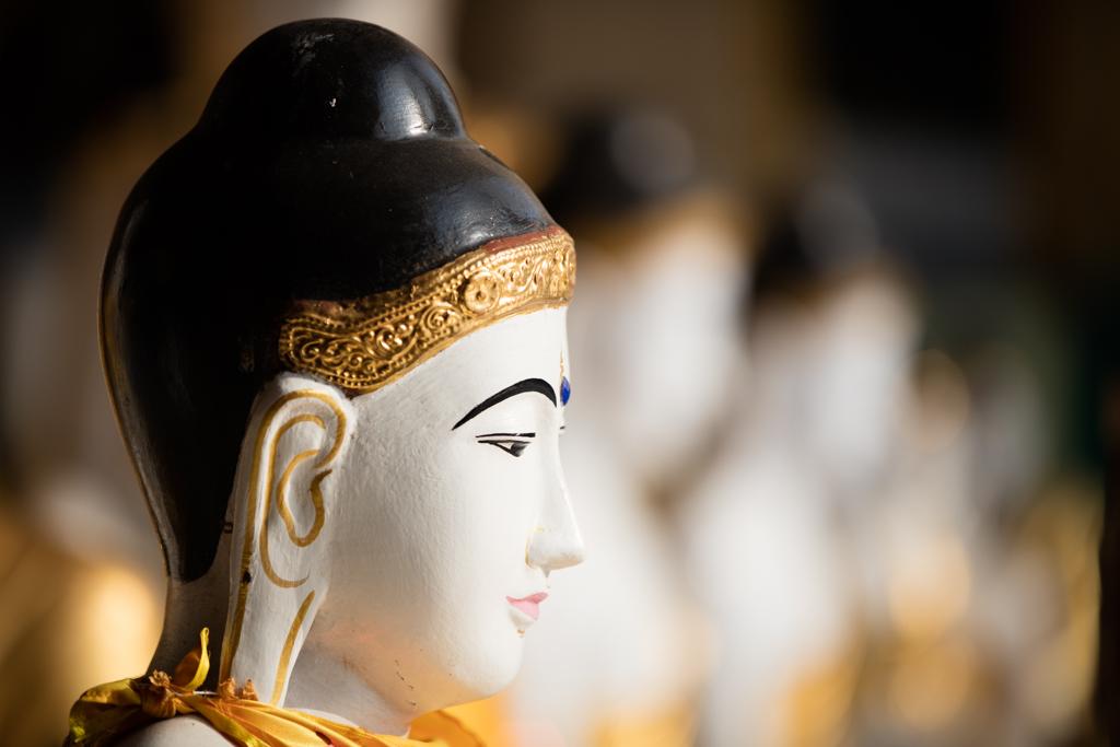 Line of Buddhas at Shwedagon Pagoda