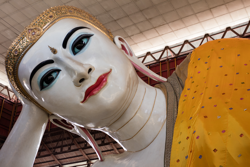 Face of lying Buddha