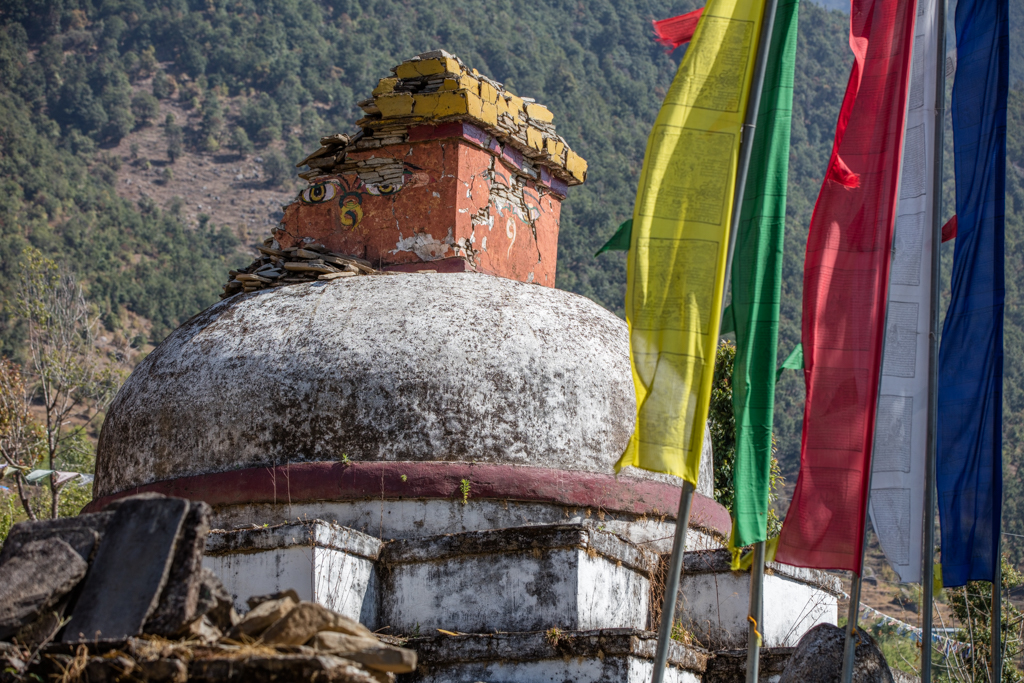 Damaged gompa at the monastery in Bhandar