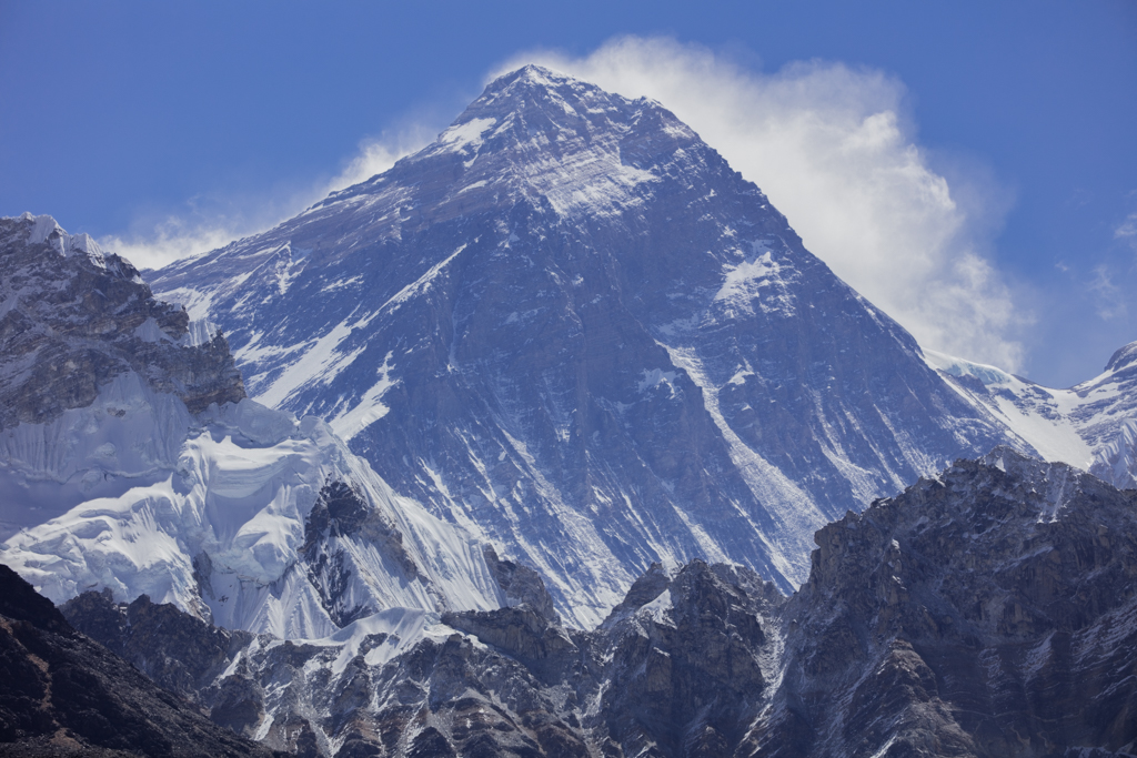 Mount Everest with clouds developing