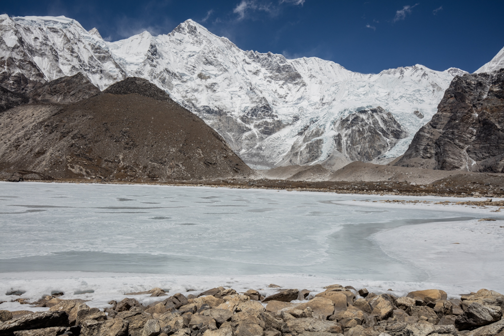 Frozen lake before Cho Oyu
