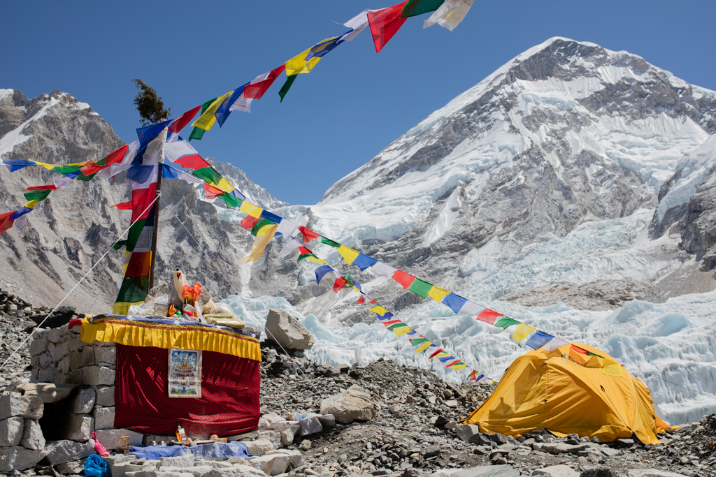 Tent and prayer flags at Everest Base Camp