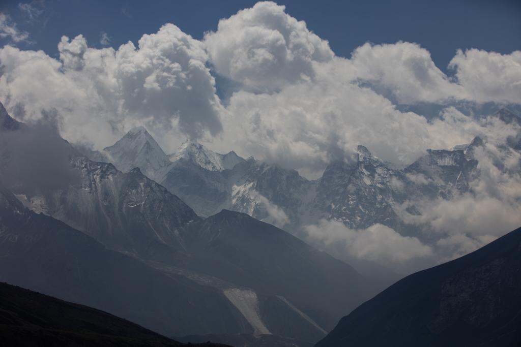 Ama Dablam with cumulus clouds