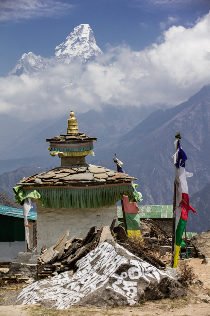 Ama Dablam seen from the entry of Khumjung