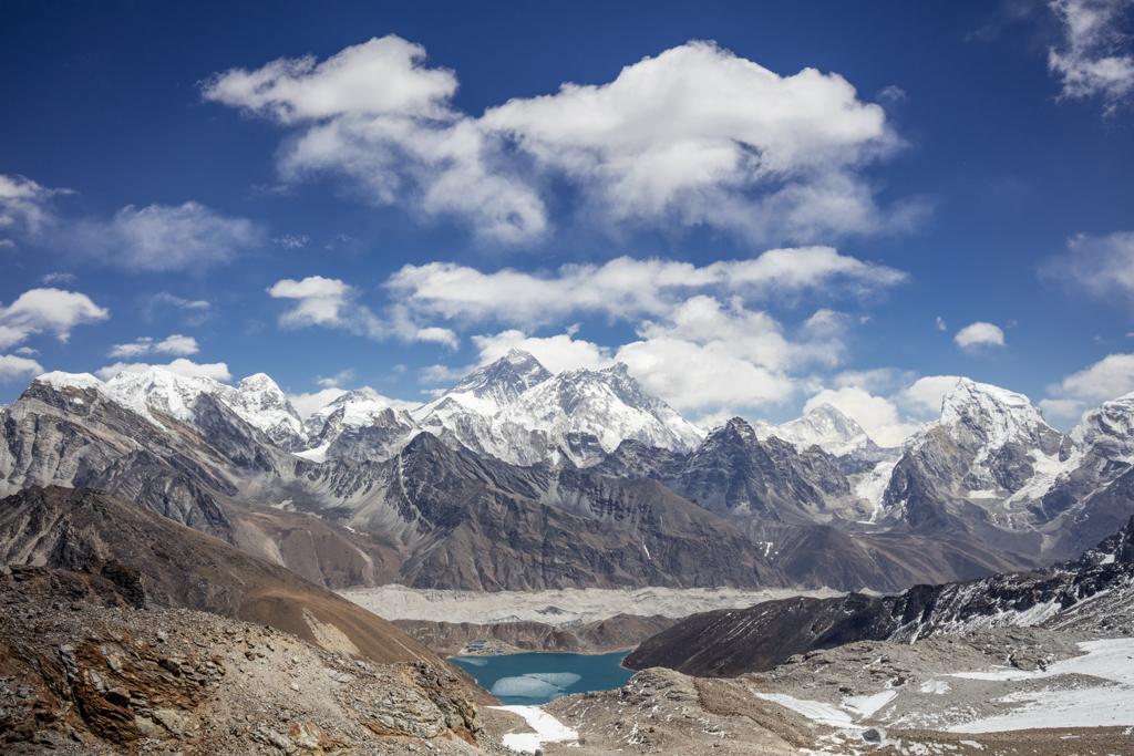 Panorama of Everest, Lhotse and Makalu