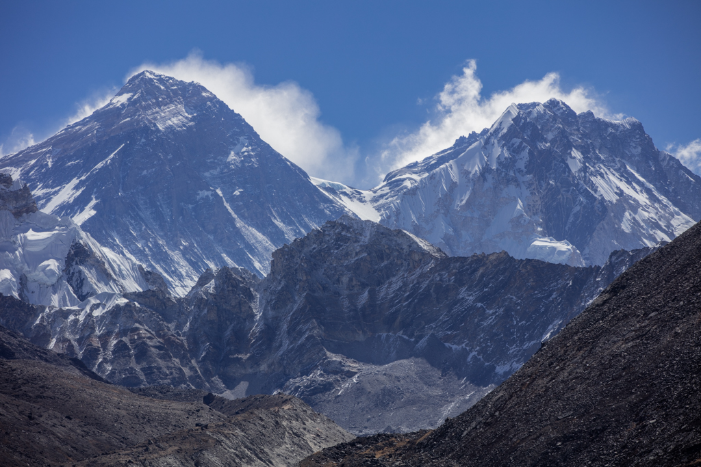 Everest and Lhotse seen from glacier view