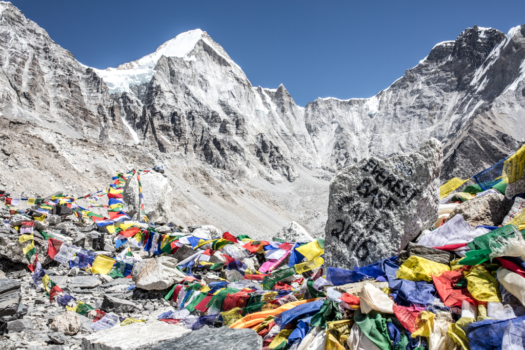 Colorful flags at Everest Base Camp