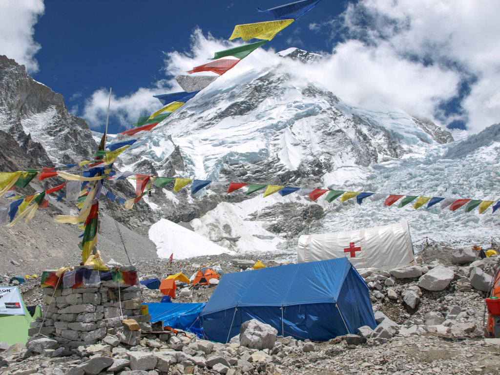 Colorful flags over base camp