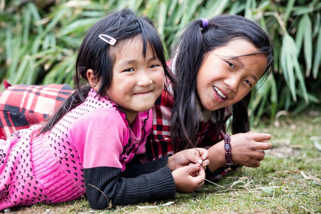 Laughing nepalese kids