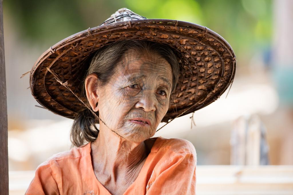 Tattooed Chin woman in Myanmar