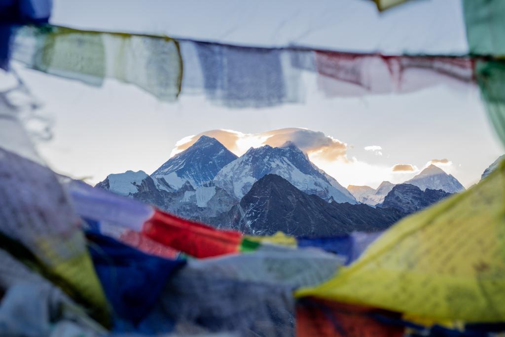 Everest framed by prayer flags