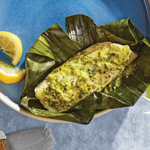 Fish Wrapped in Banana Leaves from Indian Cuisine Diabetes Cookbook by May Abraham Fridel; photography by Greg Larson; food styling by Skyler Myers