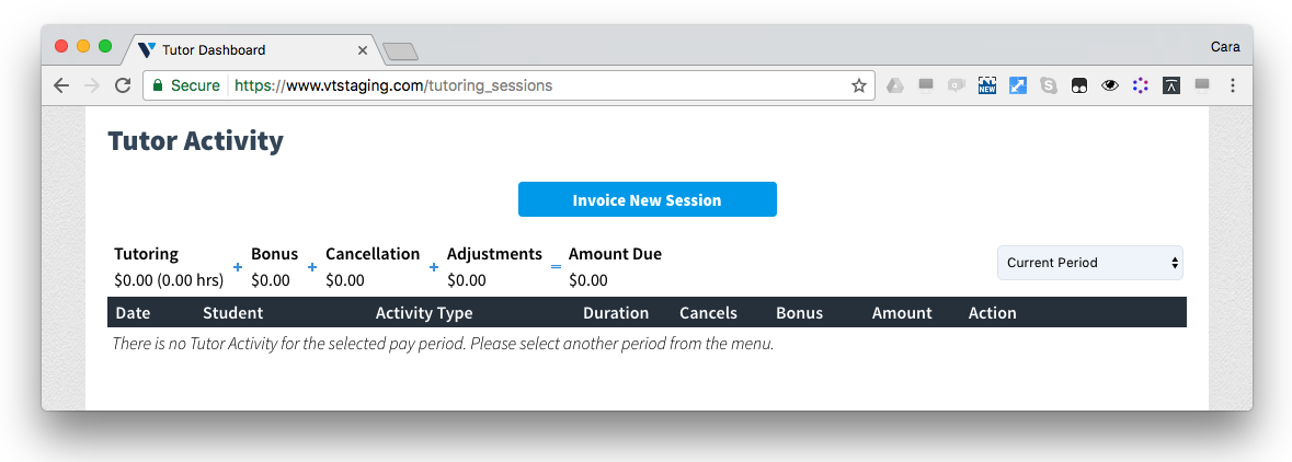 Before: Desktop view of the first step of invoicing. There is no indication that you have un-invoiced sessions and no easy way to find them.