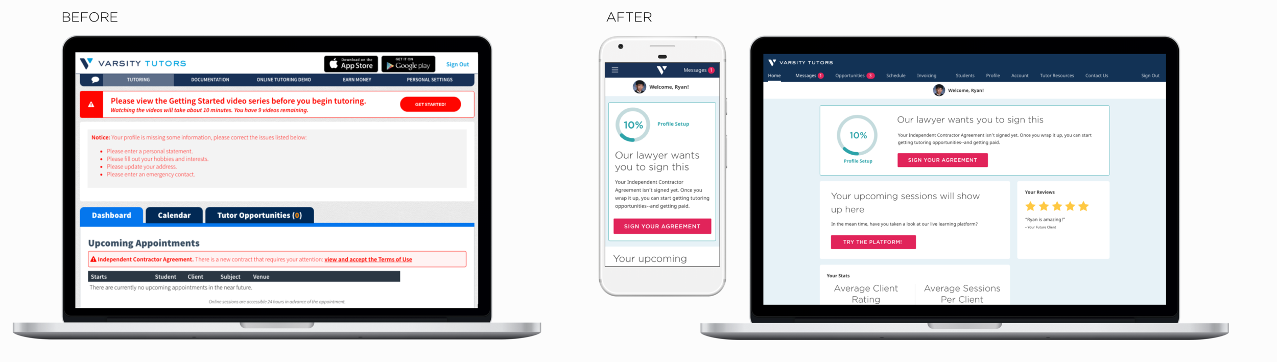 First Time Tutor Visit: (Before) Non-responsive web view and (After) Responsive web view in new design language