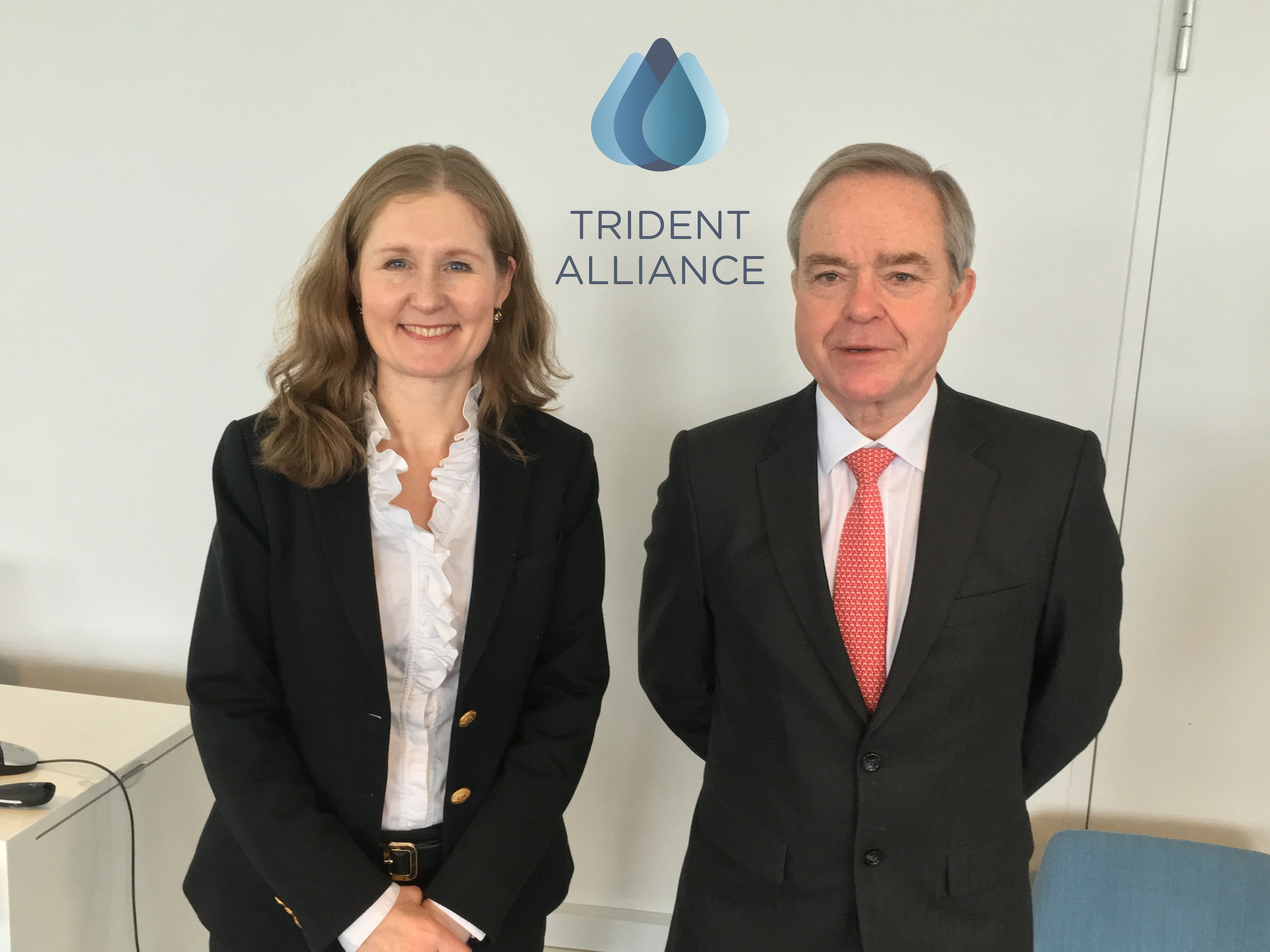 Anna Larsson, Chair Trident Alliance and Robin Meech, Chairman of IBIA, at the Trident Alliance members meeting in Copenhagen on March 14.