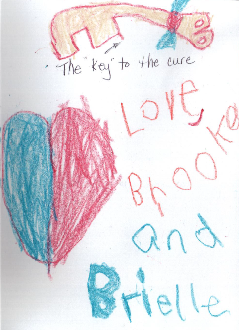 """Brooke and Brielle draw the """"key to the cure"""" for Chairman Upton following the April 30 hearing on the Cures discussion draft."""