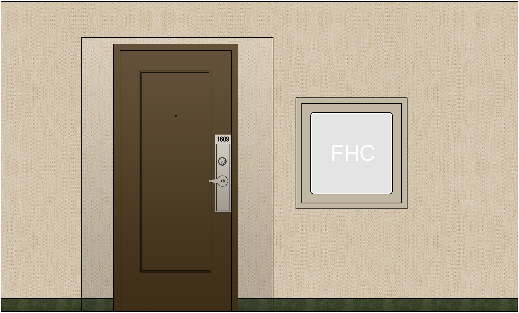 This is the proposed elevation for the suite entry with the new wall vinyl.  The carpet is to be kept so everything around it needs to work for now and when they replace the carpet in a few years. Tricky to do well so we will help with carpet selection in the future so it doesn't end up looking like a piecemeal  building.
