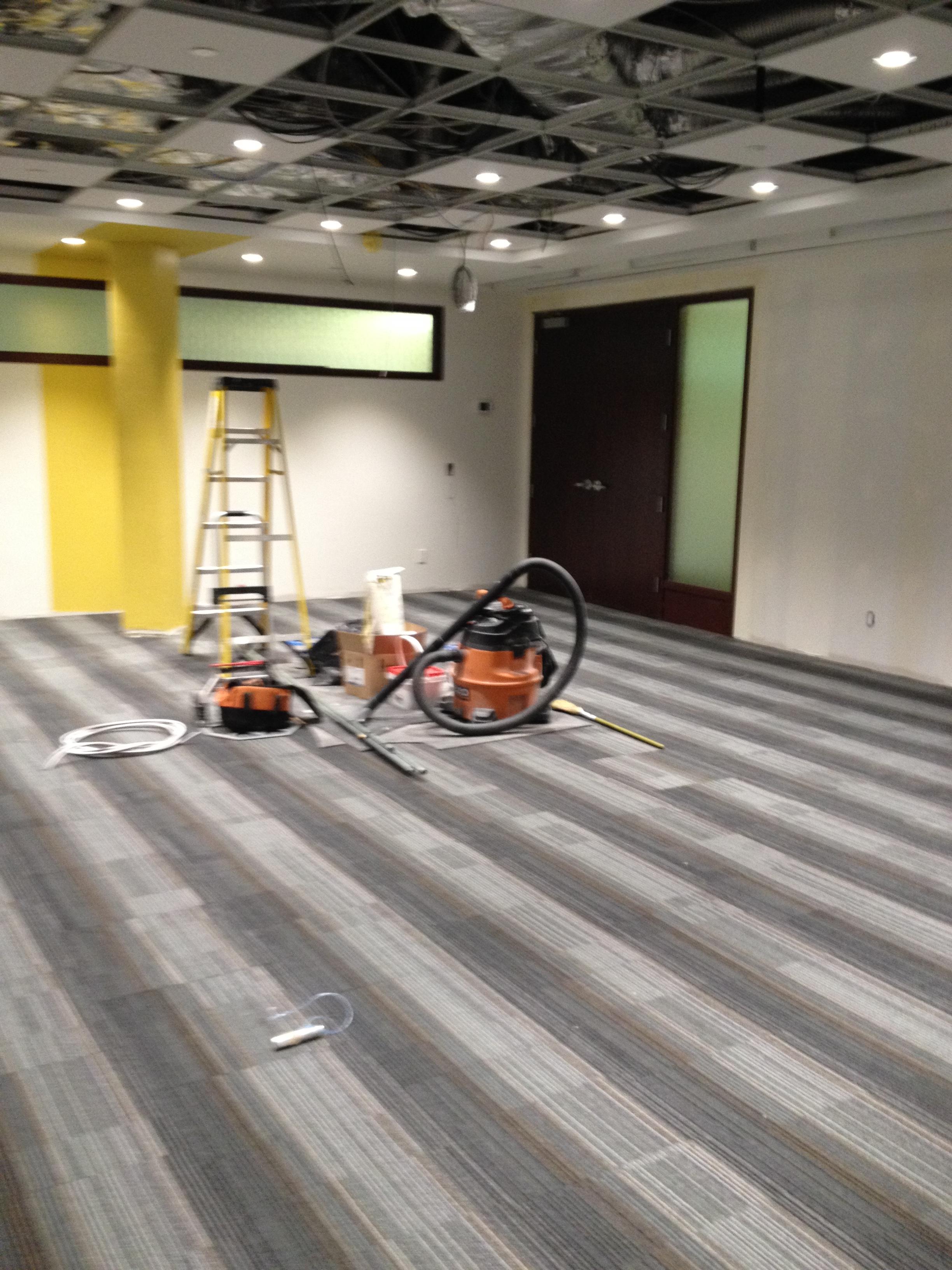 In Progress Carpet Installation