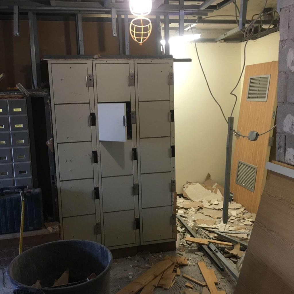 Lockers that were buried wall.