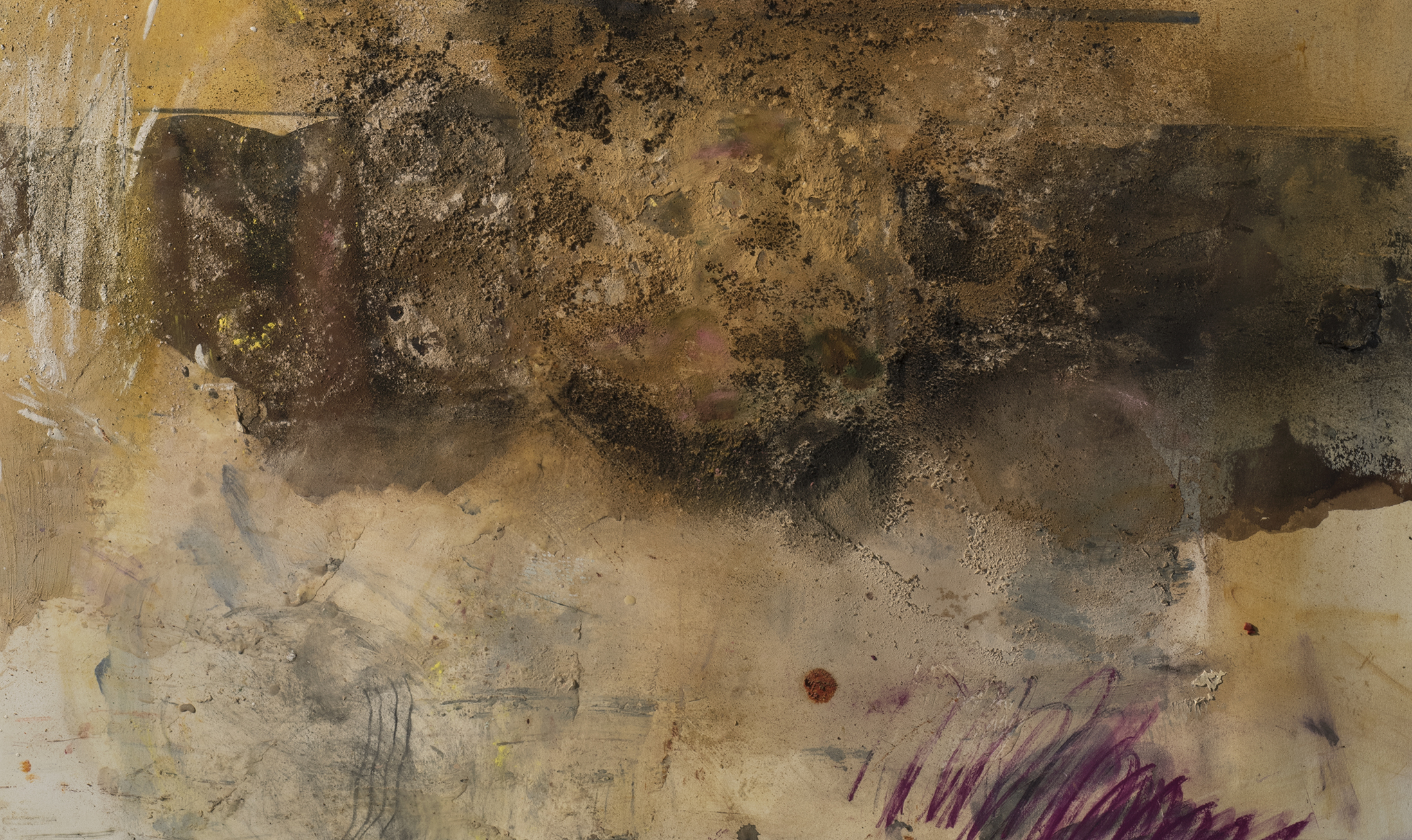 Cianne Fragione, Detail,  Immacolta on the Balcony , Oil, raw pigments, chalk pastel, graphite, walnut ink, collage, and encaustic on paper, 53 x 30 inches, 2018.