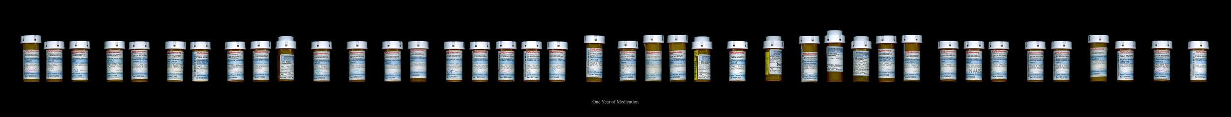 40 medication bottles scanned, documenting every prescription I received over my year long treatment with cancer.  11x89 in