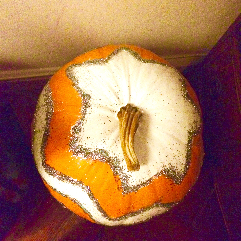glitter chevron pumpkin