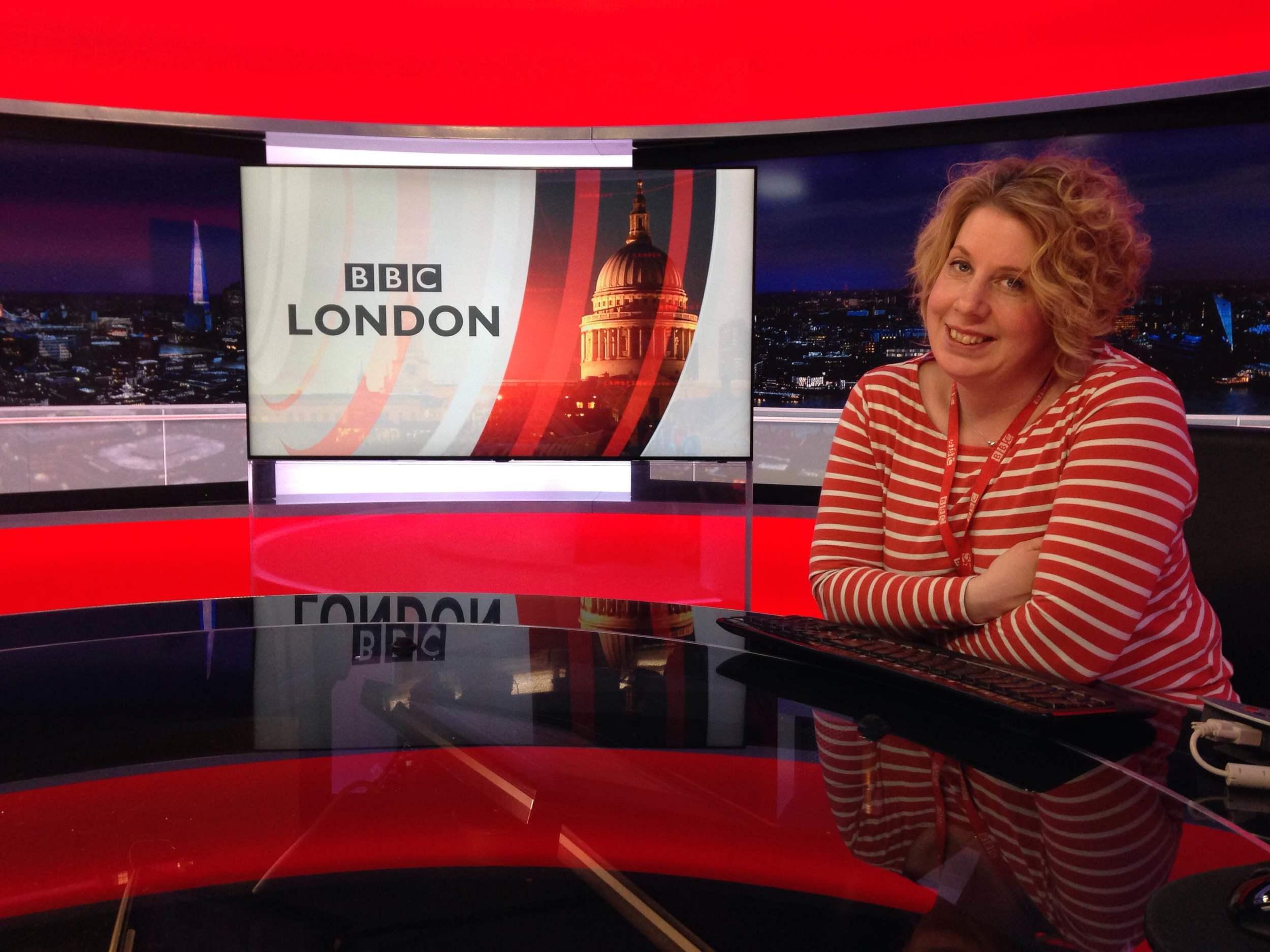 Ellen at work at the BBC studios