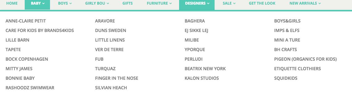 Little Bou's wide range of brands