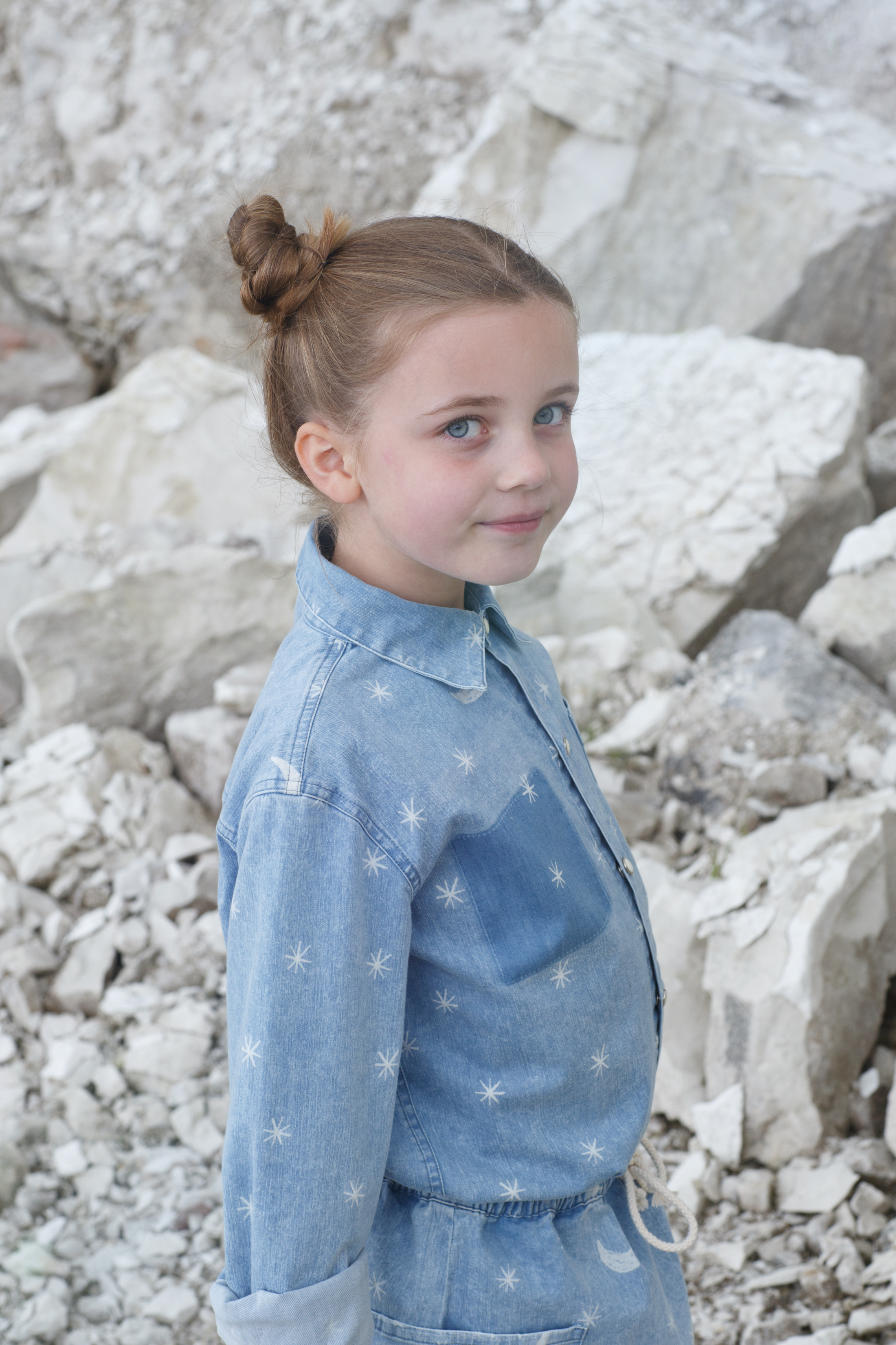 Moon and stars denim shirt & skirt, Bobo Choses. Star socks, Molo. Silver trainers, Plae.