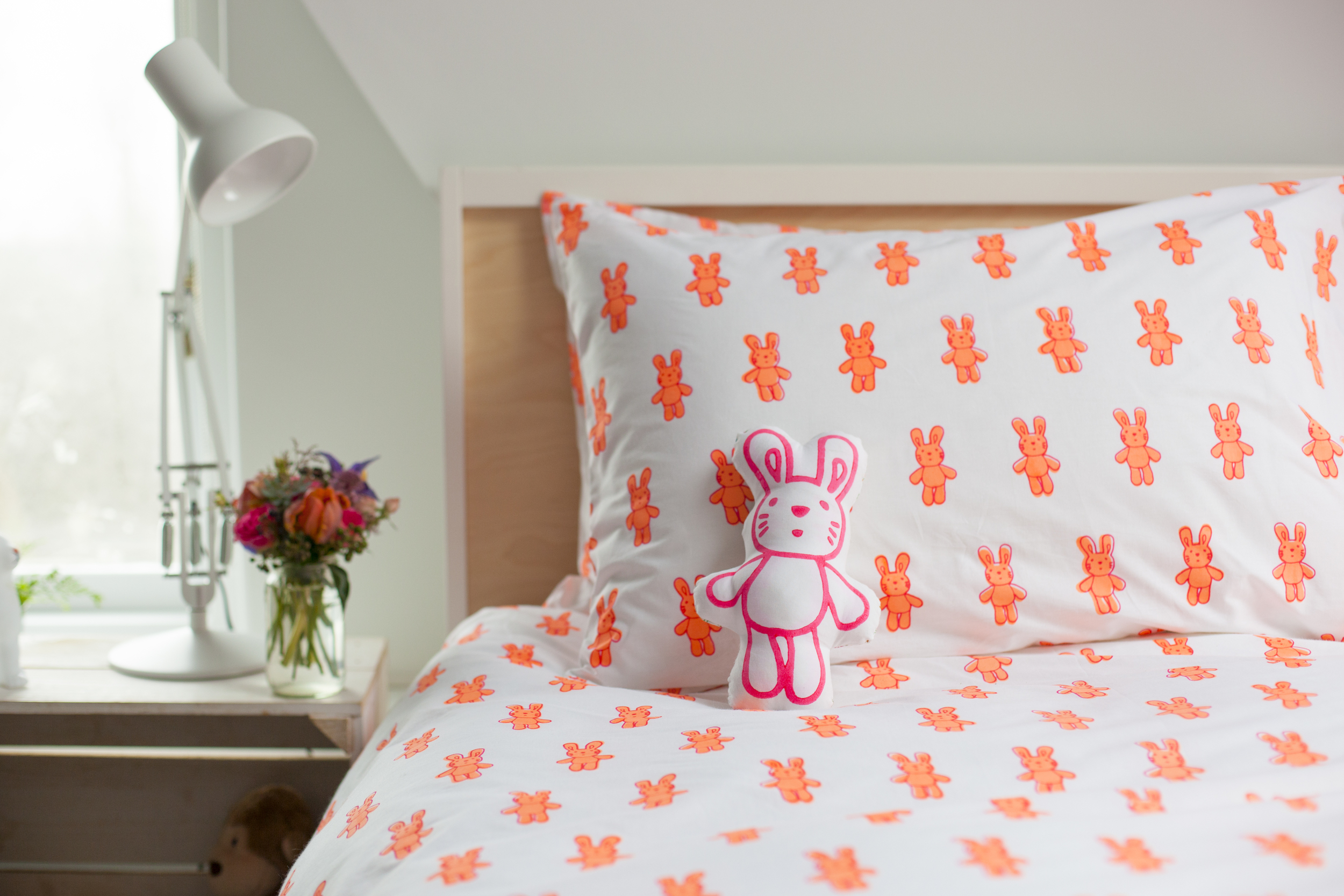 Lulu and Nat rabbit duvet cover set and rabbit cushion