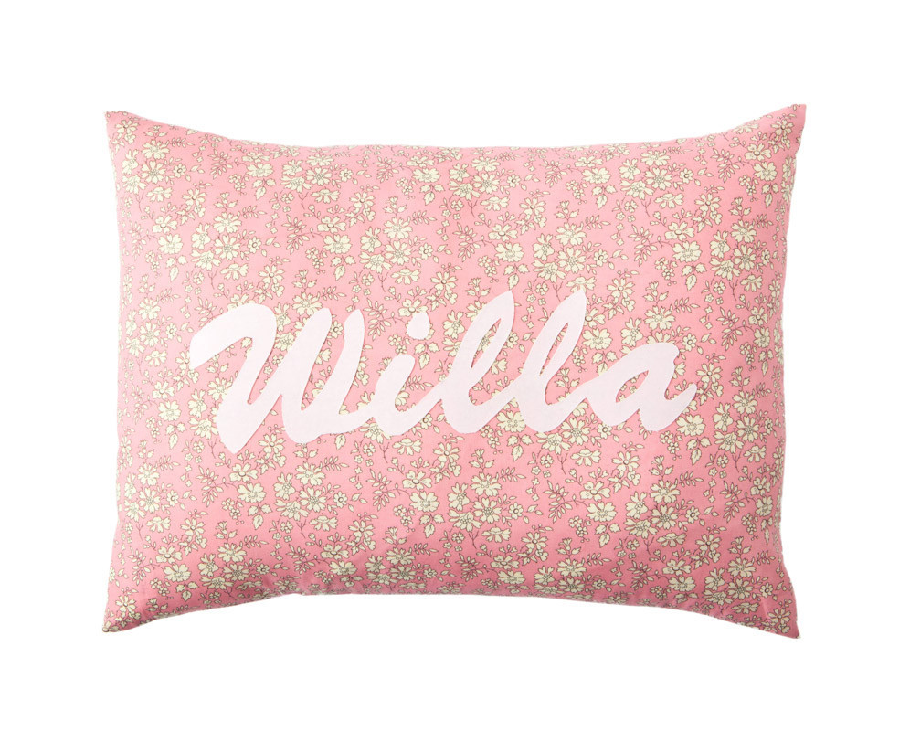 Willa and Bobbin personalised Liberty print cushion