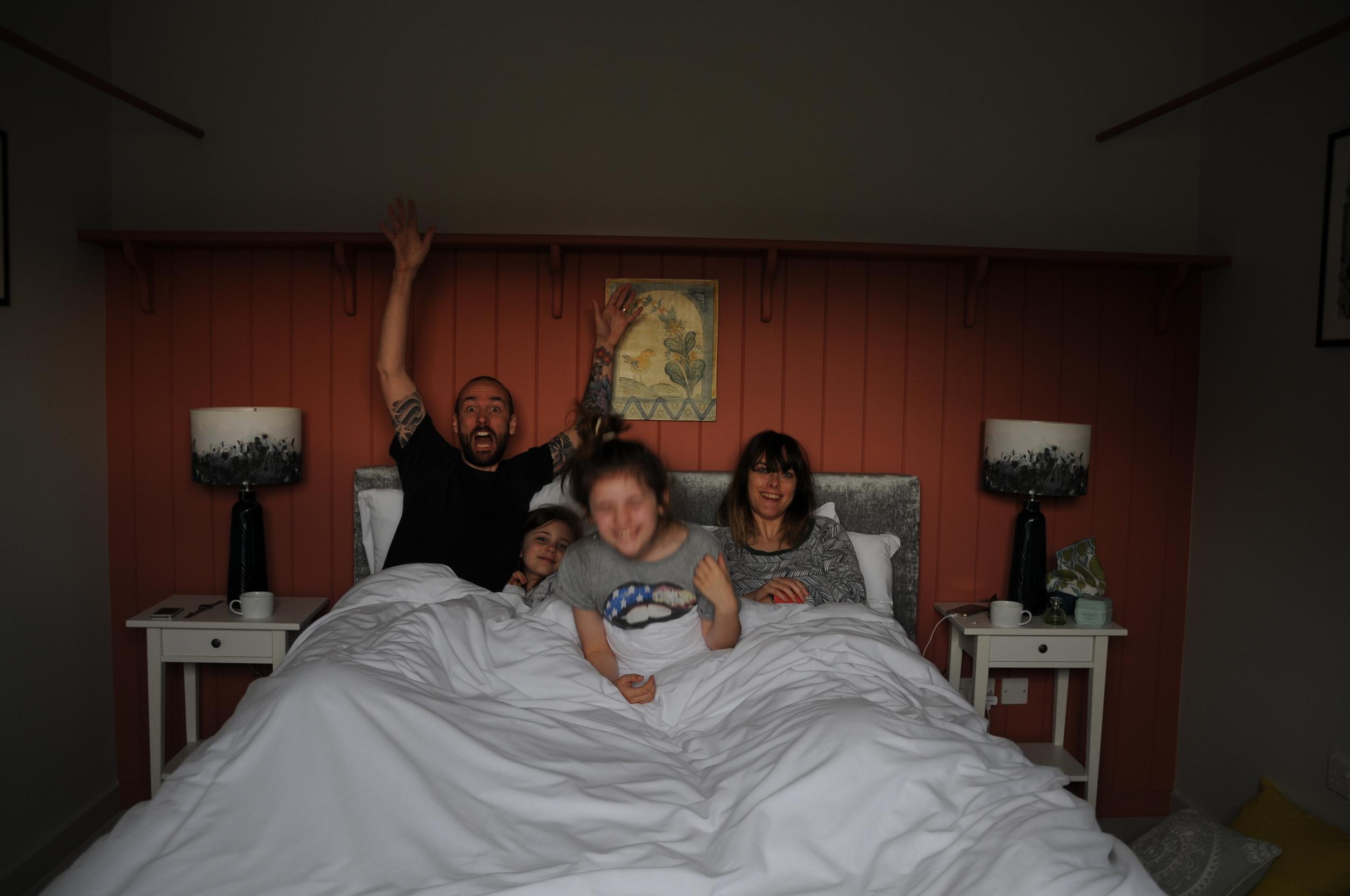 Having fun with the family at The Loose Box, Barsham Barns, Norfolk.