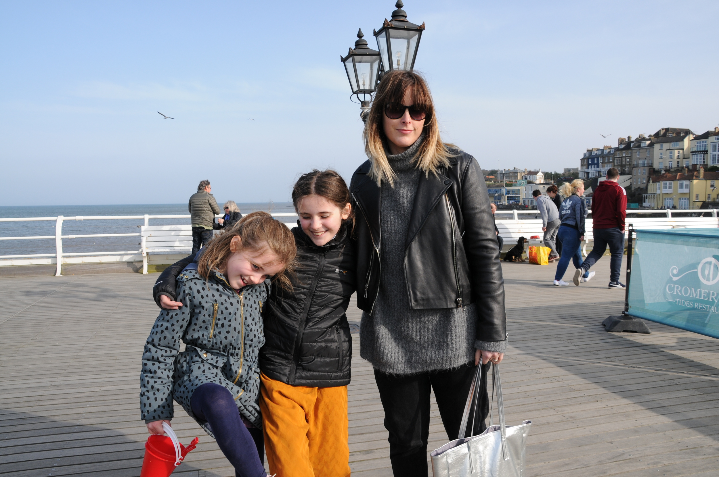 Enjoying the sun on Cromer Pier after a lovely big fish and chip supper at No.1 Cromer.