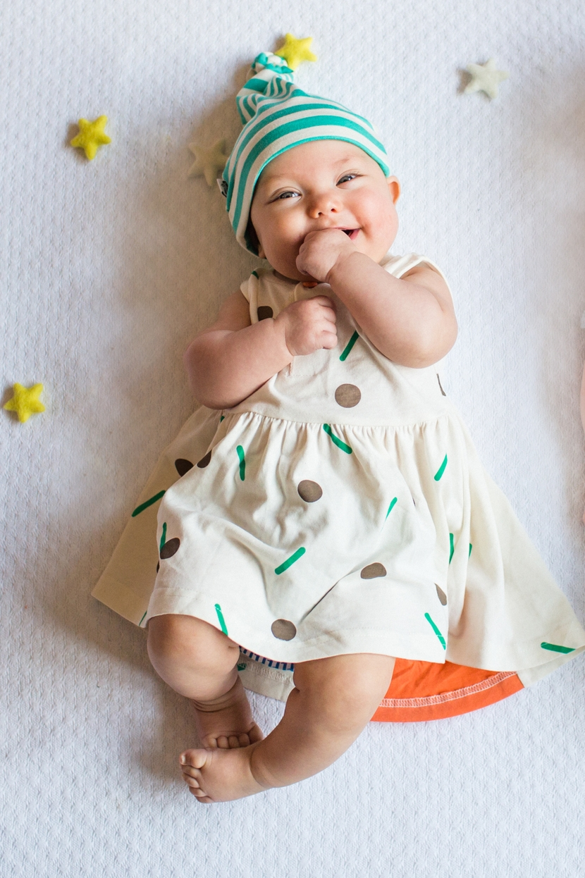 Confetti dress  £23.80.  Stripe hat  Panda and the Sparrow