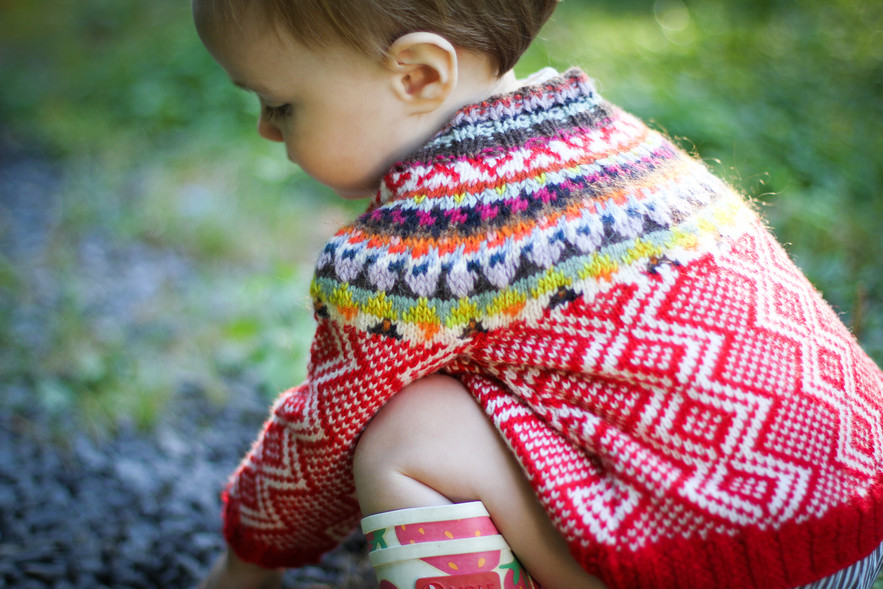 Sophie Ochera Saami #1 €98.  Inspired by a well-loved and well-worn pair of Swedish mittens, this beautiful cardigan has been lovingly handmade in the softest lambswool and merino wools. No itchiness here!