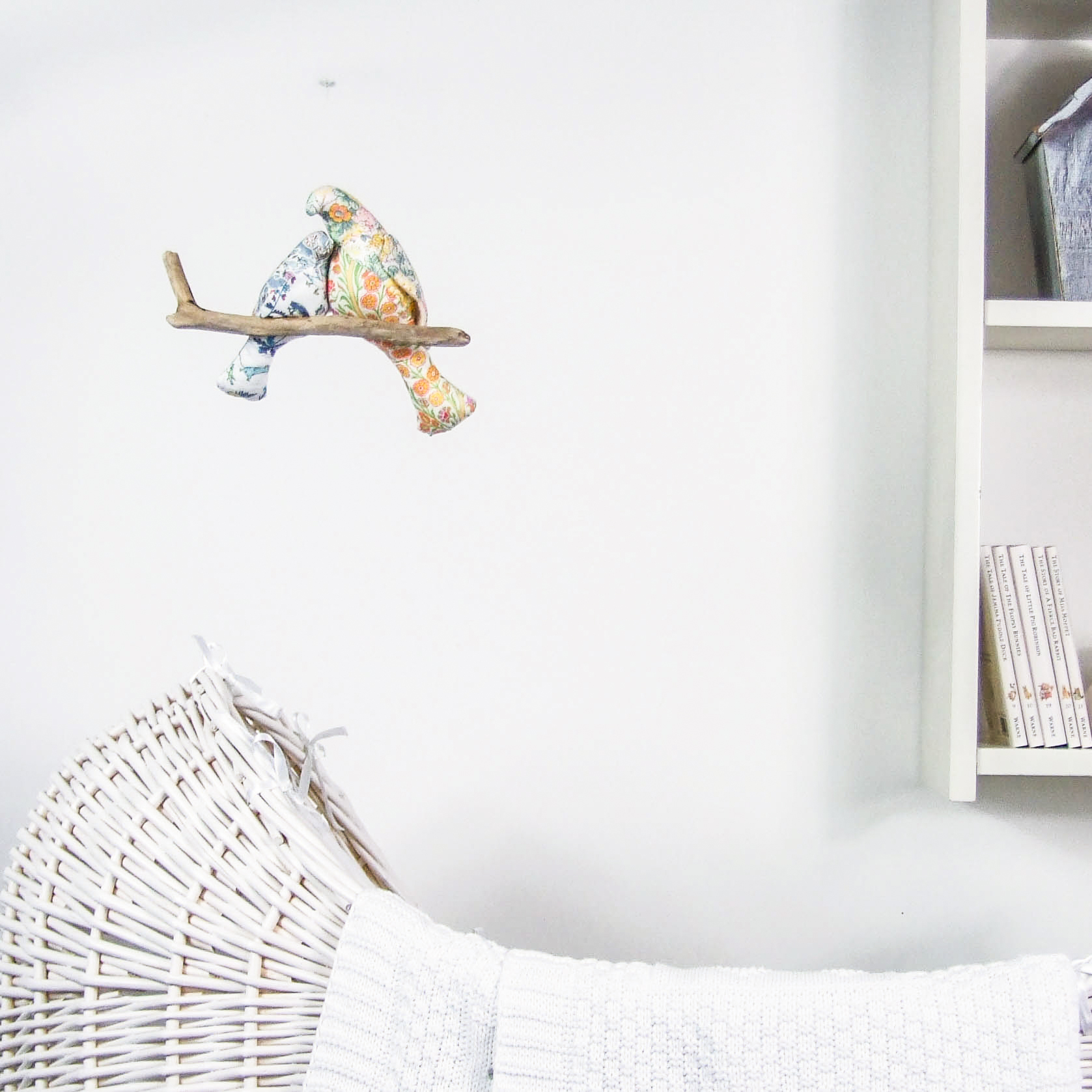 Willa and Bobbin hanging bird mobile in liberty print
