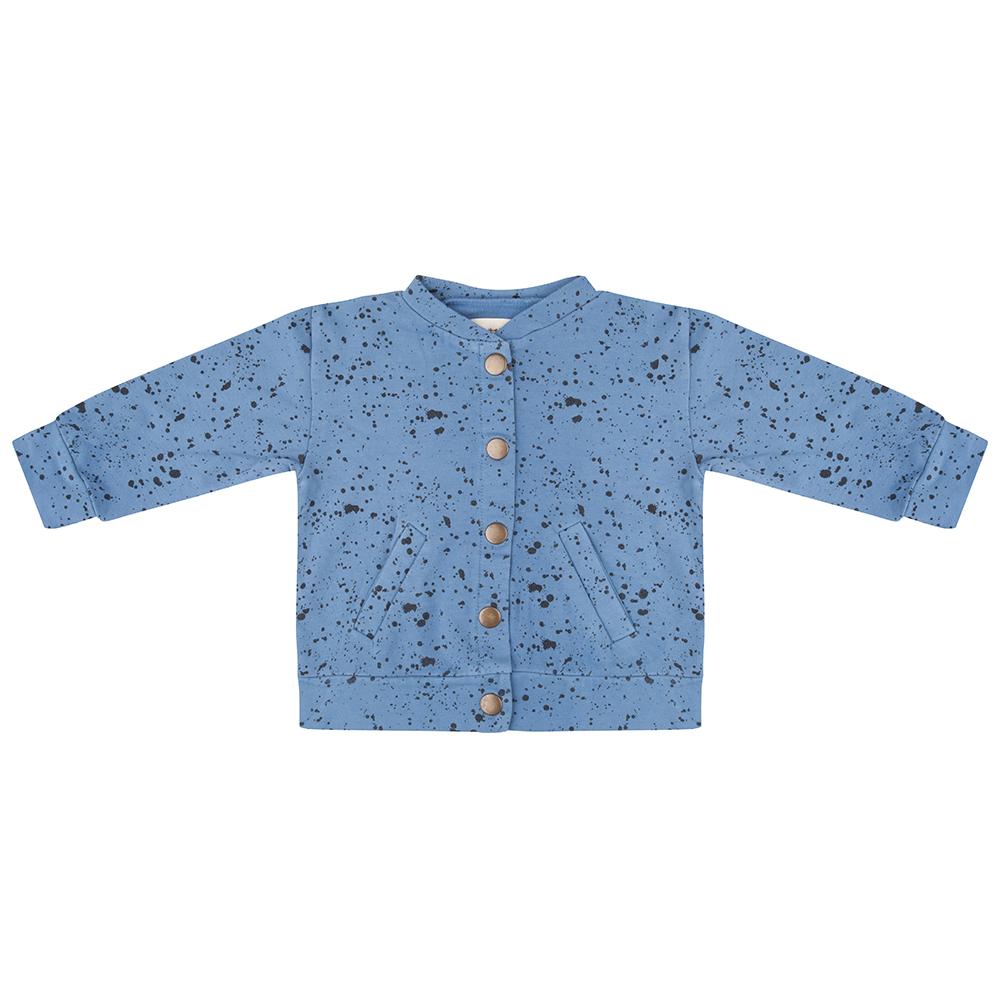 Little Indians blue splash 2 pocket kids bomber jacket