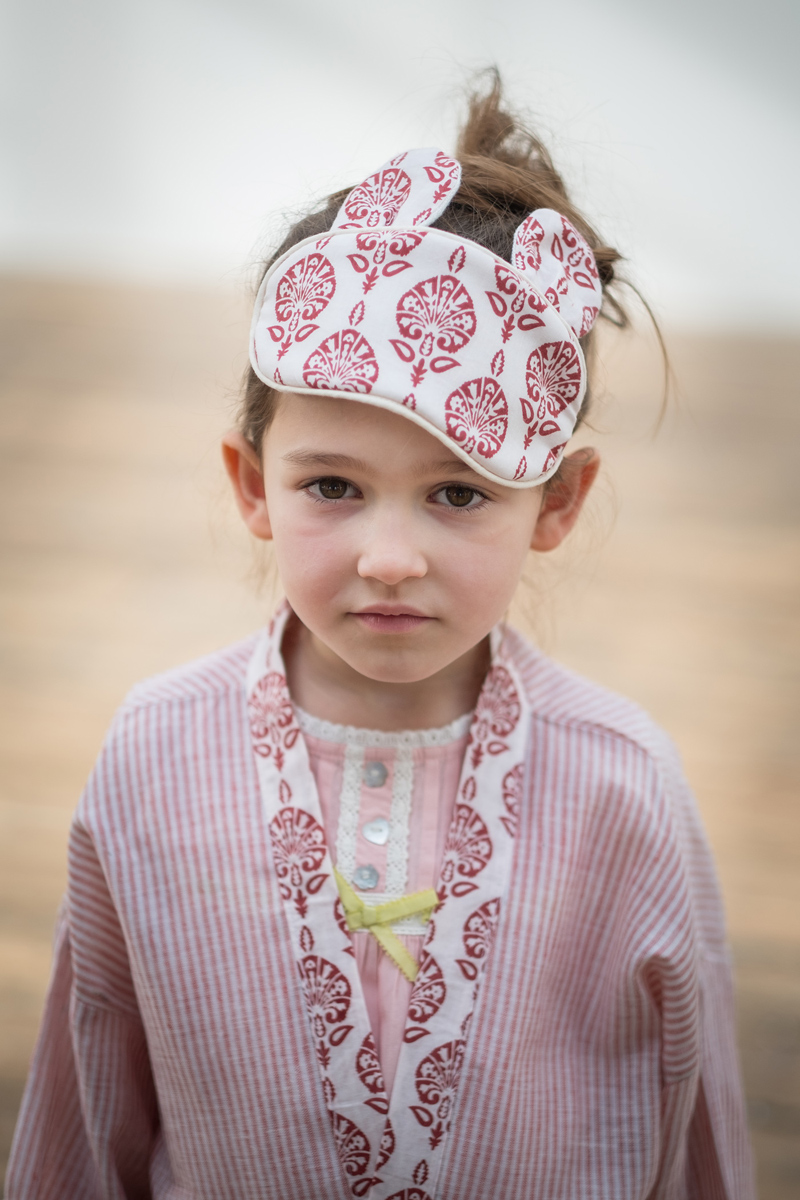 Atticus and Gilda girls pink stripe cotton dressing gown, nightwear and sleep mask