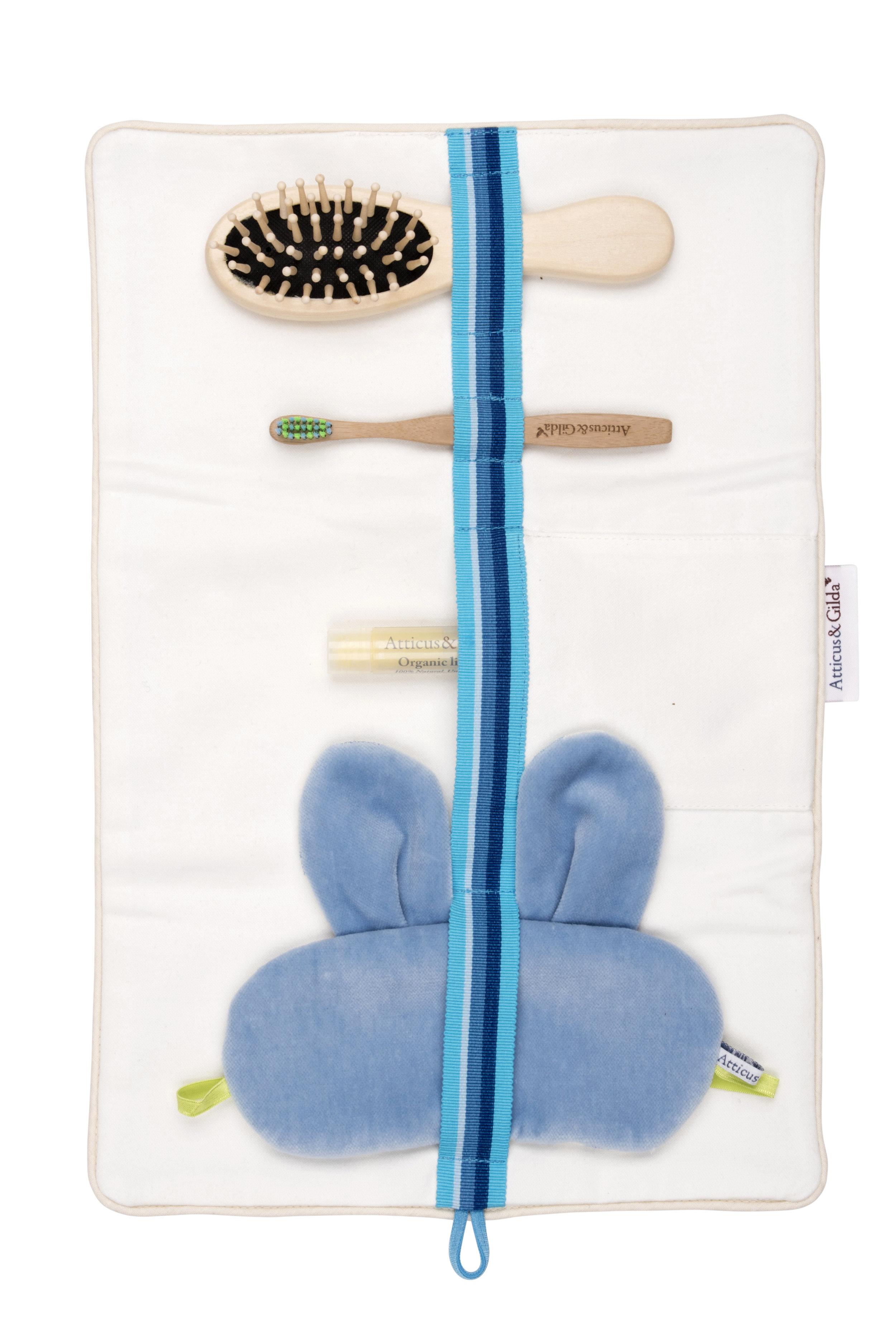 Atticus and Gilda cotton overnight bag with brush, toothbrush, lip balm and sleep mask