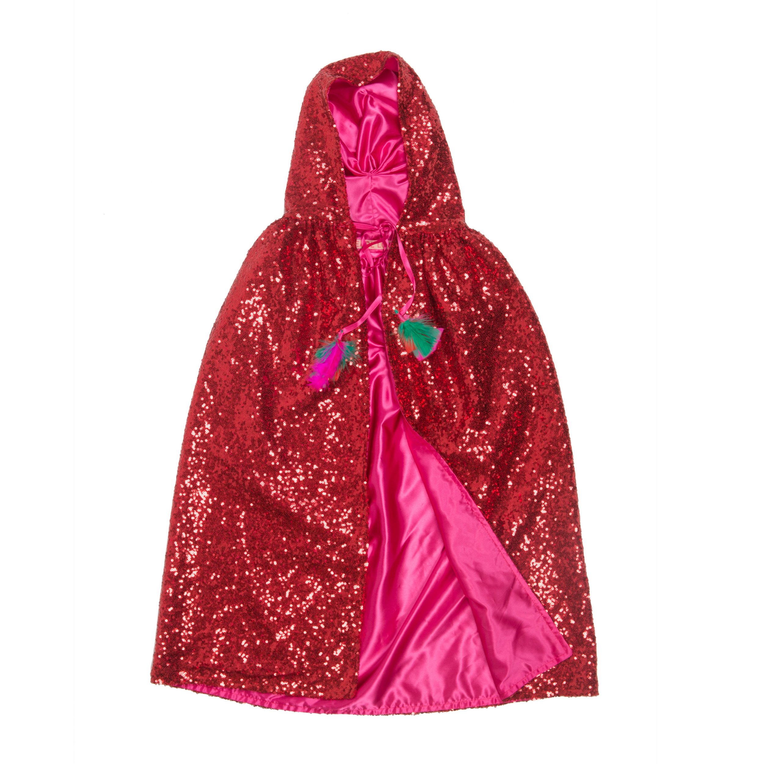 Pearl Lowe and Selfish Mother sequin red cape with pink lining