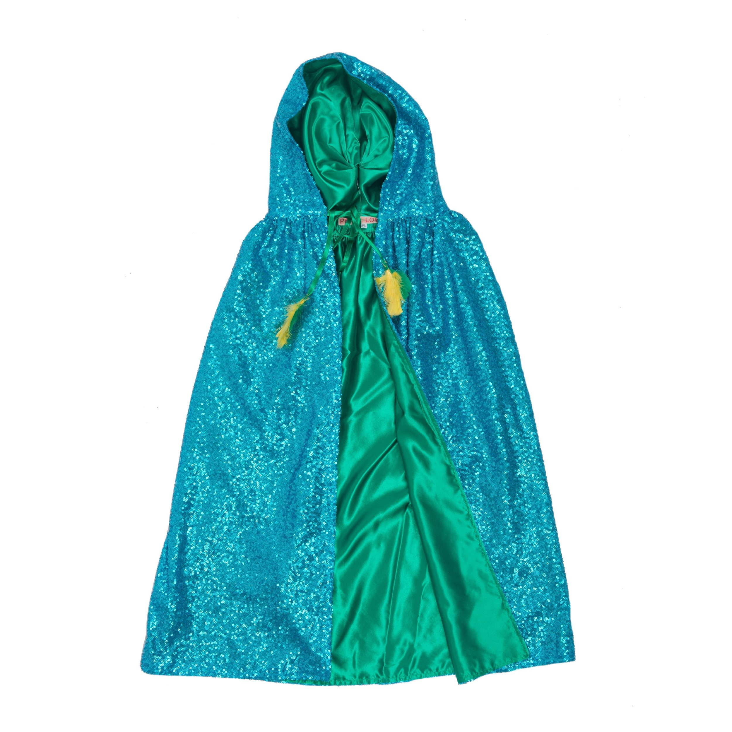 Pearl Lowe and Selfish Mother sequin blue cape with green lining