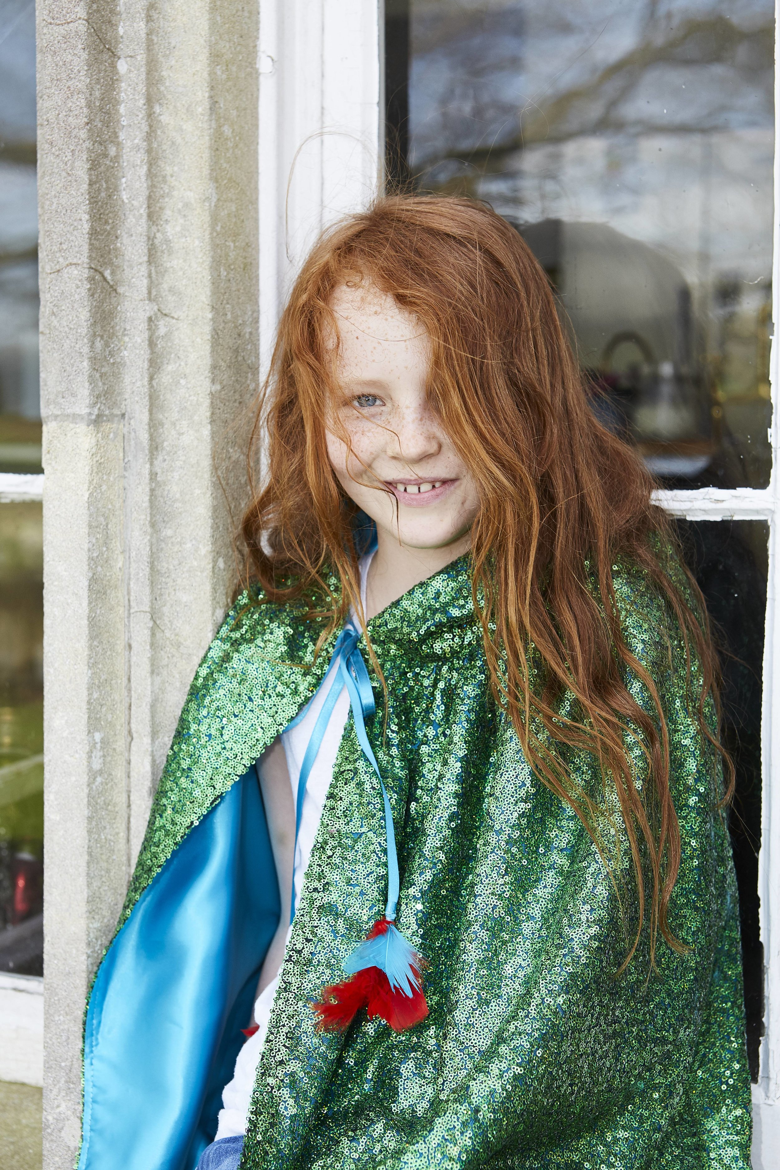 Pearl Lowe and Selfish Mother sequin green cape with blue lining
