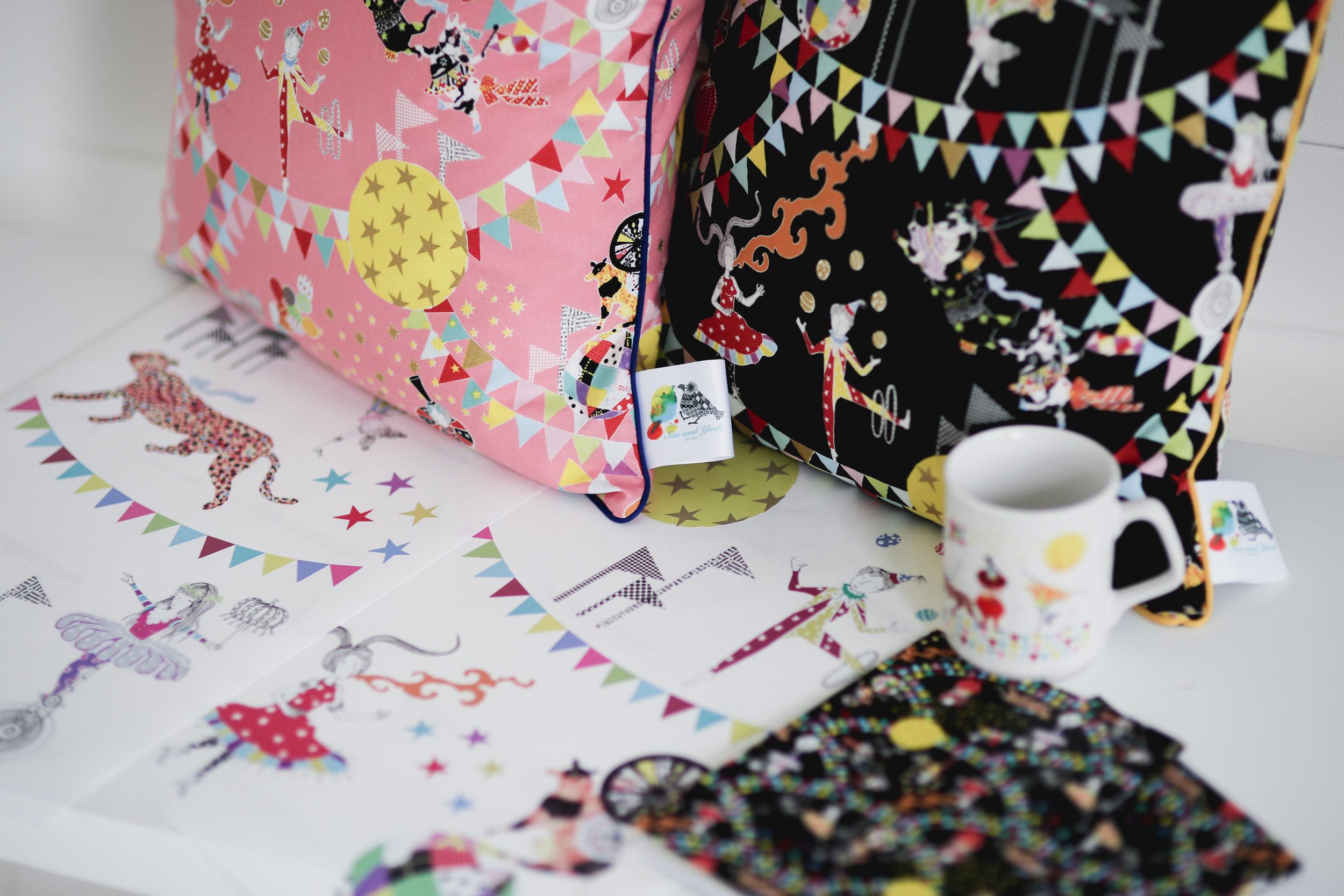 Sas and Yosh cushions mugs and wallpapers
