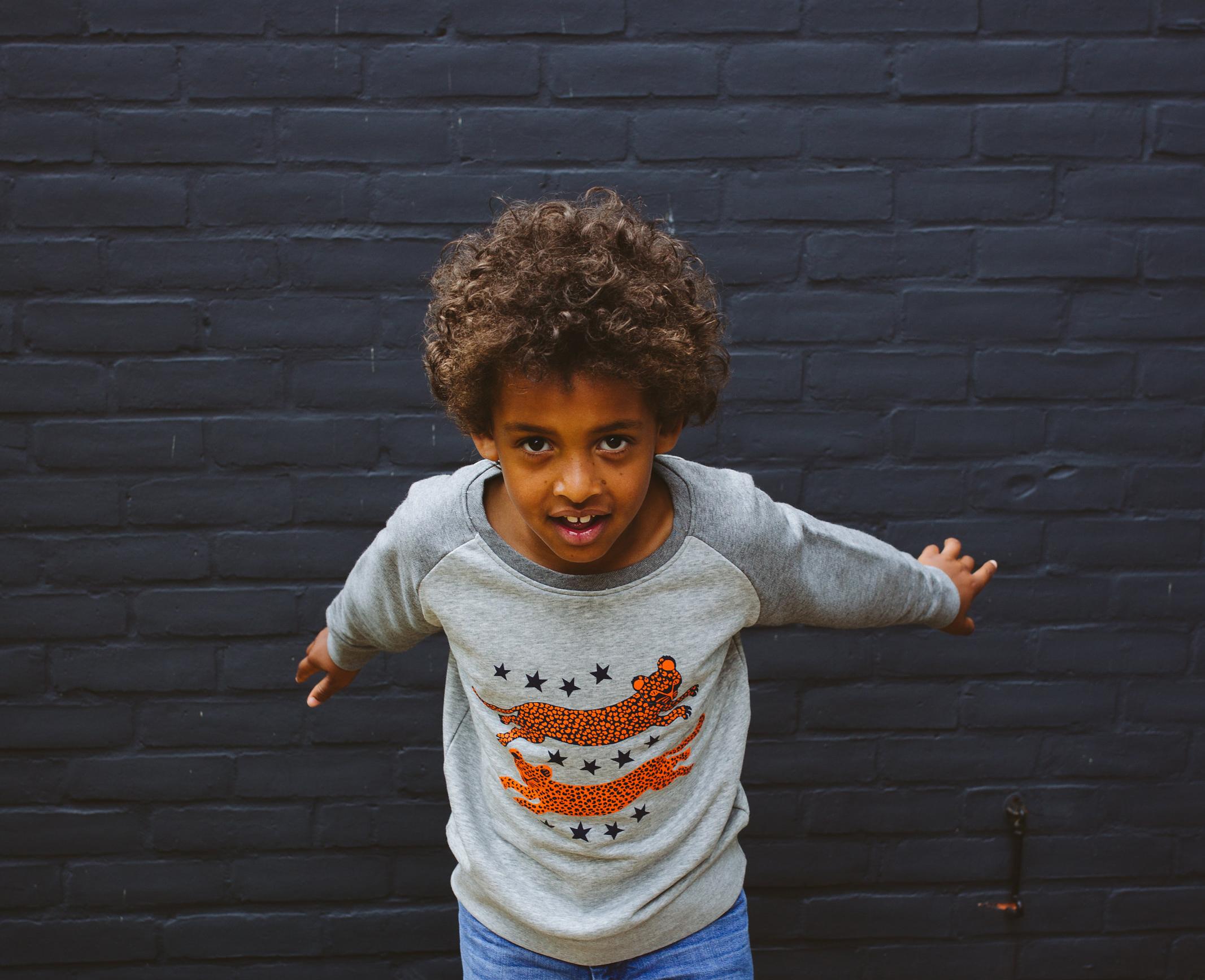 Sas & Yosh kids grey marl leopard sweatshirt