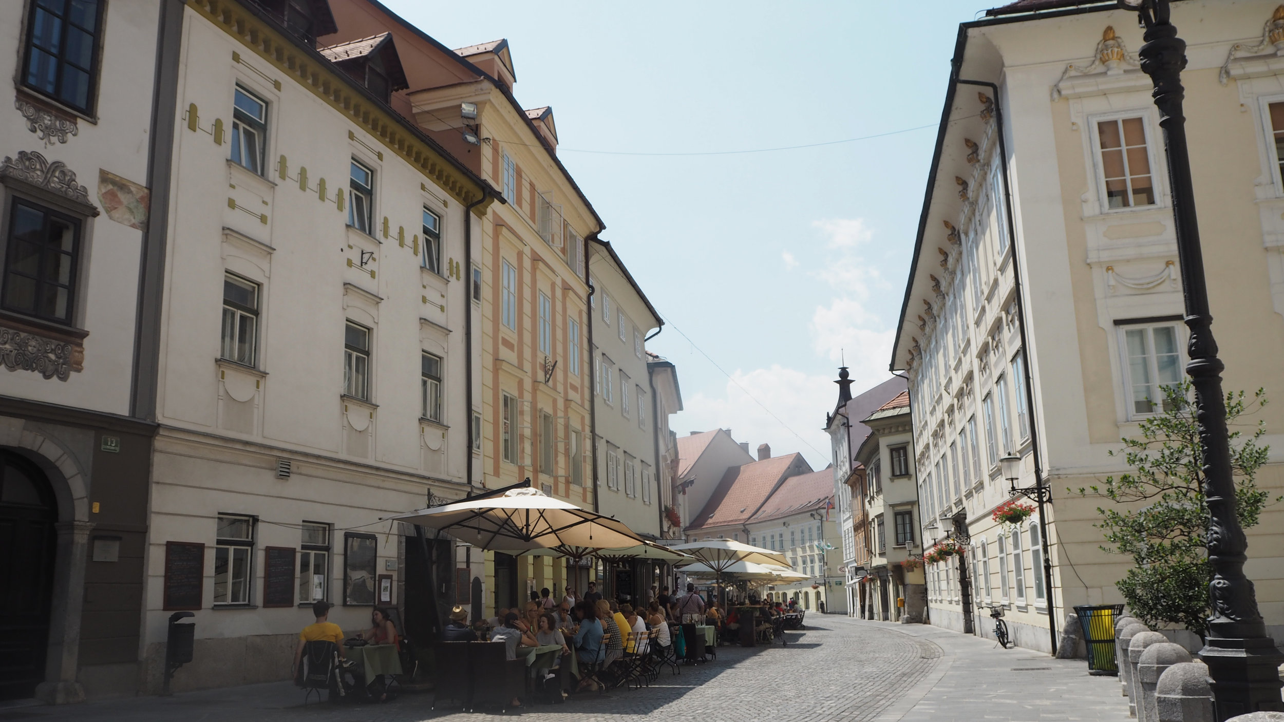 The streets of Ljubljana Old Town, Slovenia.