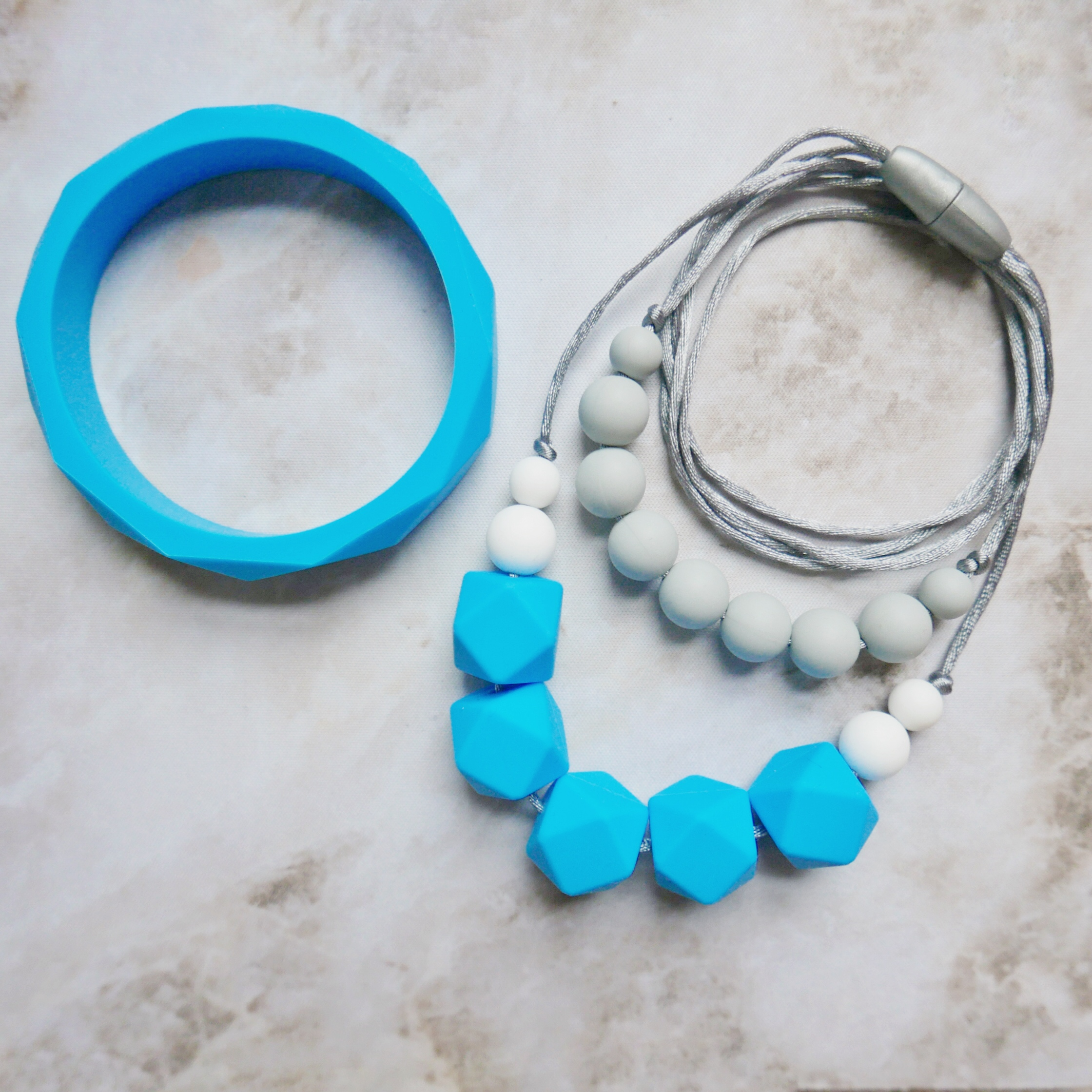 East London Baby Company teething necklace and bangle in blue and grey