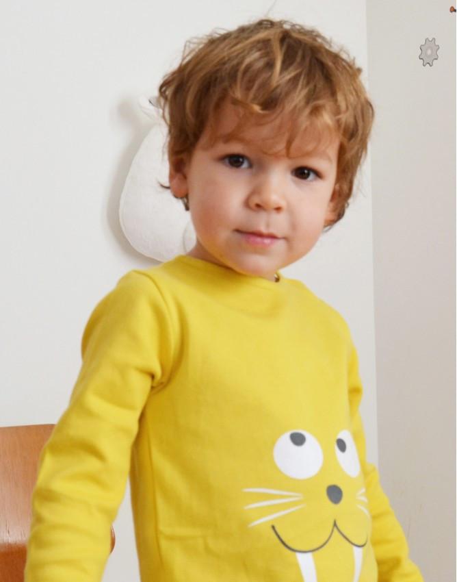 Tendre Deal Yellow morse long sleeve kids tshirt