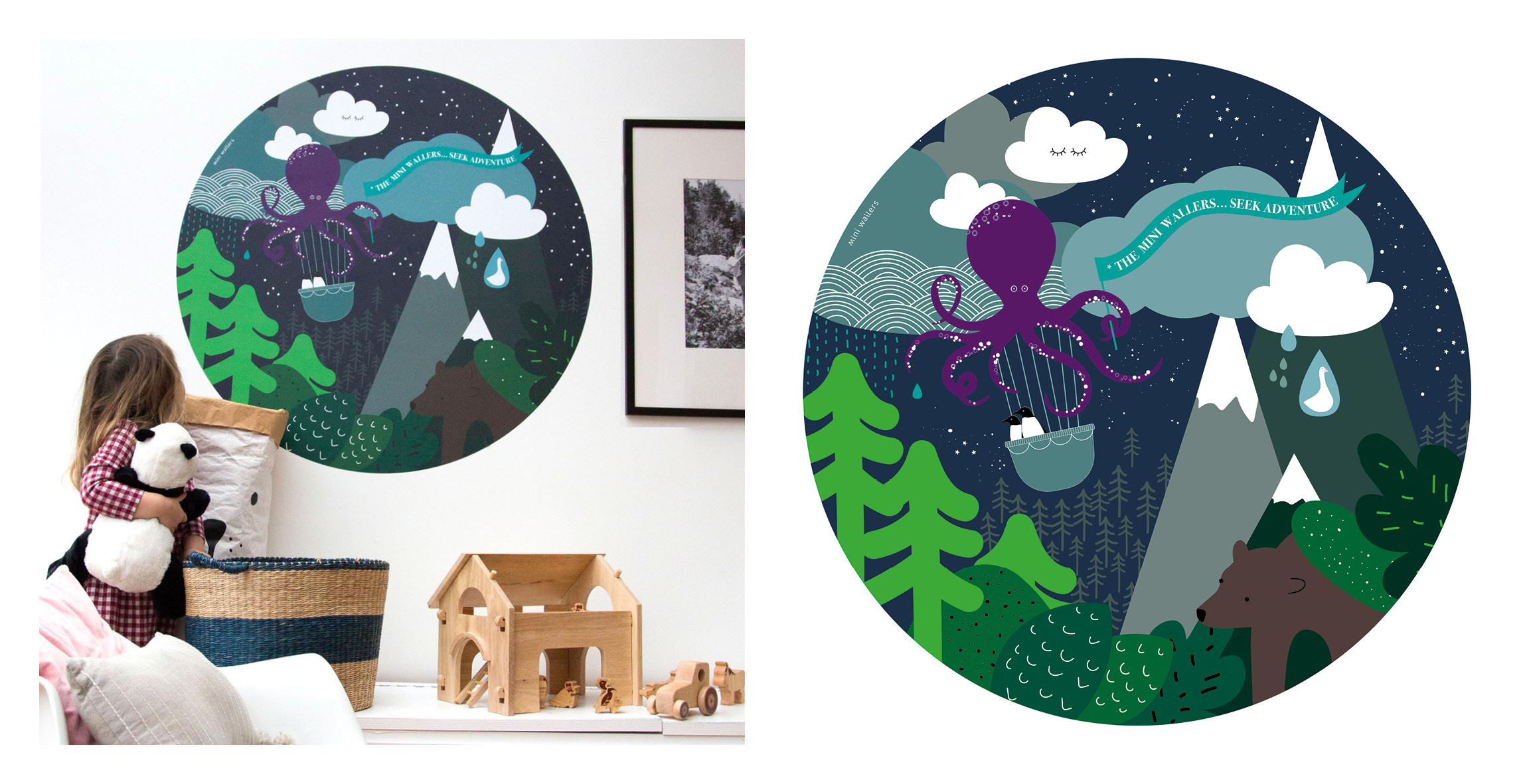 Mini Wallers childrens clouds and space wall decal