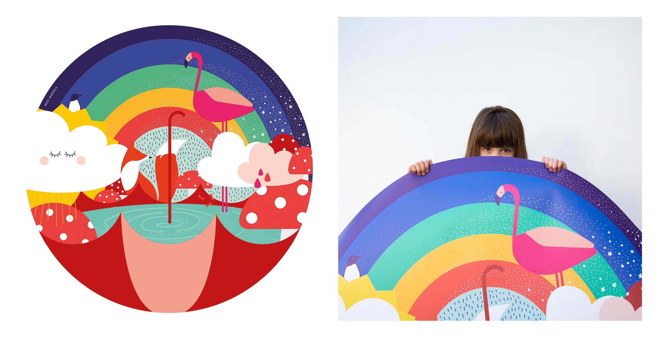 Mini Wallers rainbow kids round wall decal