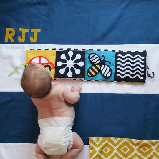 Personalised stripe play mat